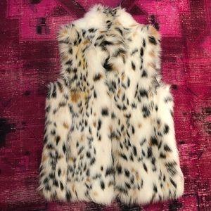 Black and white Michael Kors Faux Fur Vest - Small